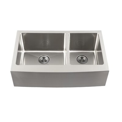 "32.87"" x 20.75"" Double Bowl Farmhouse Kitchen Sink Product Photo"