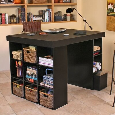Venture Horizon Project Center Writing Desk with Bookcase and 3 Bin Cabinet