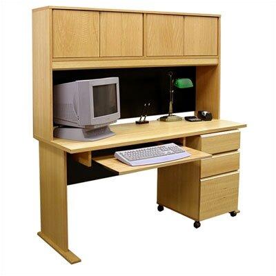 Rush Furniture Modular Real Oak Wood Veneer Standard Computer Desk with Hutch