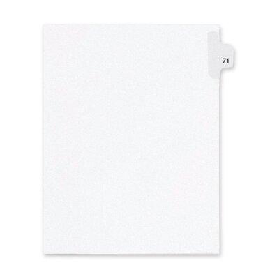 Kleer-Fax, Inc. Index Dividers,Number 71,Side Tab,1/25 Cut,Letter,25/PK,WE