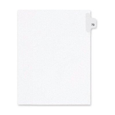 Kleer-Fax, Inc. Index Dividers,Number 73,Side Tab,1/25 Cut,Letter,25/PK,WE