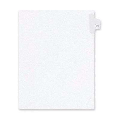 Kleer-Fax, Inc. Index Dividers,Number 91,Side Tab,1/25 Cut,Letter,25/PK,WE