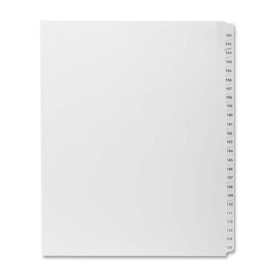 "Kleer-Fax, Inc. Index Dividers,""Exhibit 151-175"",Side Tabs,1/25 Cut,25/PK,WE"