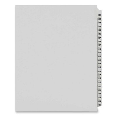 "Kleer-Fax, Inc. 80000 Series Legal Index Divider Set, Side Tabs, Printed ""101""-""125"""