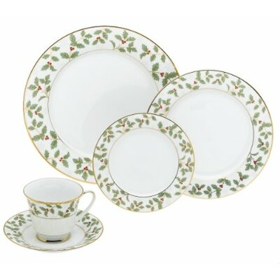 Holly and Berry Gold 40 Piece Dinnerware Set by Noritake