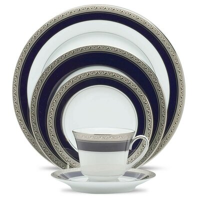Crestwood Cobalt Platinum 5 Piece Place Setting by Noritake