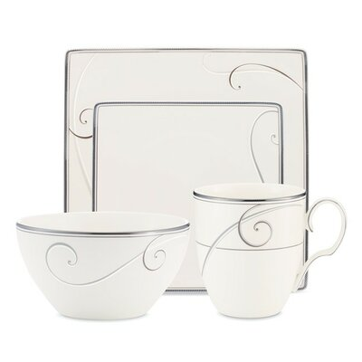 Platinum Wave Square 4 Piece Place Setting by Noritake