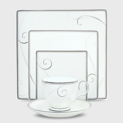 Platinum Wave 5 Piece Square Place Setting by Noritake