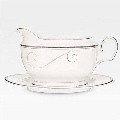 Noritake Platinum Wave 18 oz. Gravy Boat with Tray