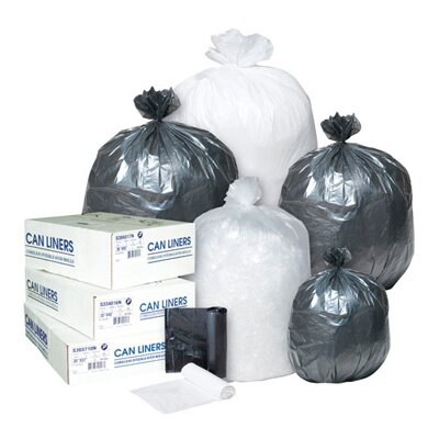 Inteplast Group 16 Gallon High Density Can Liner, 8 Micron in Clear, 50/Roll