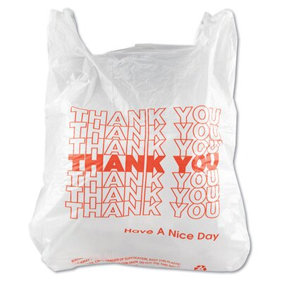 Inteplast Group T-Shirt Thank You Bag in White, 900/Case