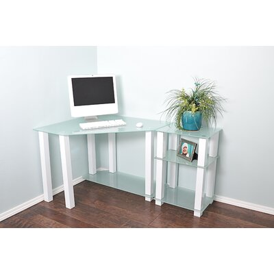 White Lines Corner Computer Desk with Right Extension Table by RTA Home And Office