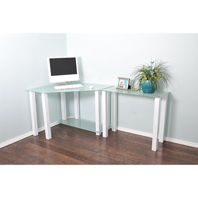 White Lines Computer Desk with Extension and Shelf by RTA Home And Office