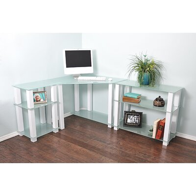White Lines Corner Computer Desk with Left and Right Extension Table by RTA Home And ...