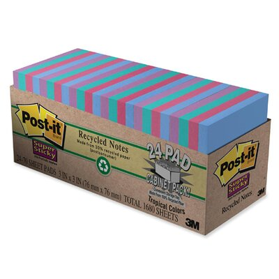 Post-it® Notes Super Sticky Super Sticky Pads Cabinet Pack, 3 x 3, Five Tropical Colors, 24 70-Sheet Pads