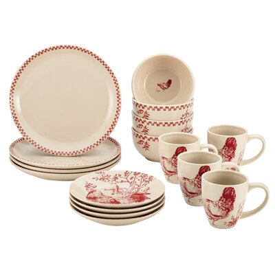 Chanticleer Country 16 Piece Stoneware Dinnerware Set by BonJour