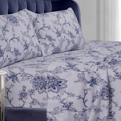 Floral Cotton Sheet Set by Tribeca Living