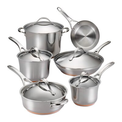 Nouvelle Copper Stainless Steel 11 Piece Cookware Set by Anolon
