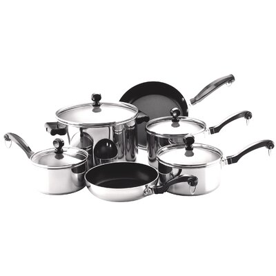 Classic Stainless Steel 10 Piece Cookware Set by Farberware