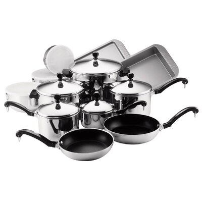 Classic Stainless Steel 17 Piece Cookware Set by Farberware