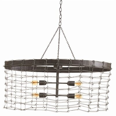 Trudy 4 Light Oval Iron Wire Link Pendant by ARTERIORS Home
