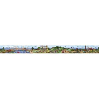 "4 Walls Construction Panorama Mural 18' x 18"" Scenic Border Wallpaper"