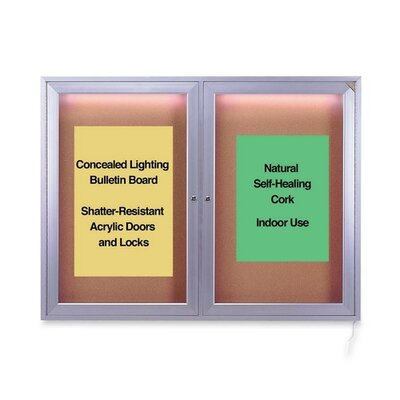 Ghent Concealed Light Bulletin Board,4' x 3'