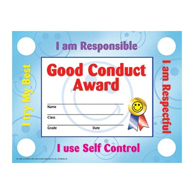Hayes School Publishing Good Conduct Seals Certificate