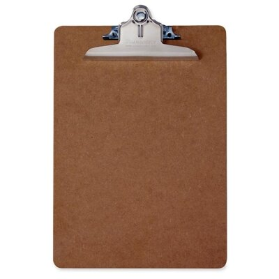 "Saunders Hardboard ClipboaRed, Letter, 9""x1/8""x12-1/2"", Brown"