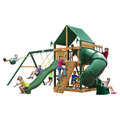 Mountaineer Swing Set with Green Vinyl Canopy by Gorilla Playsets