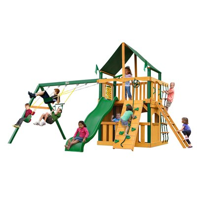 Chateau II Clubhouse with Timber Shield and Canopy Cedar Swing Set Product Photo