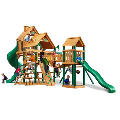 Treasure Trove Swing Set with Wood Roof Canopy Product Photo