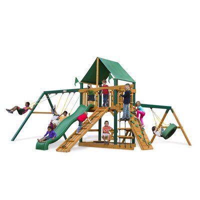 Frontier Swing Set with Green Vinyl Canopy Product Photo