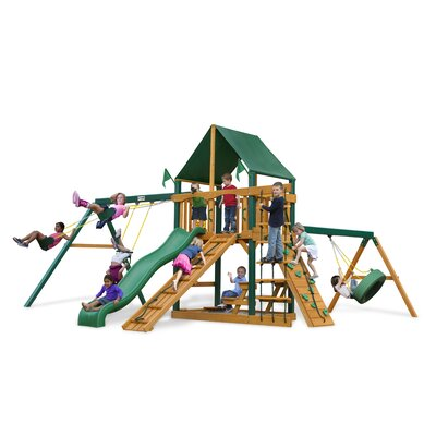 Frontier Swing Set with Canvas Green Sunbrella by Gorilla Playsets