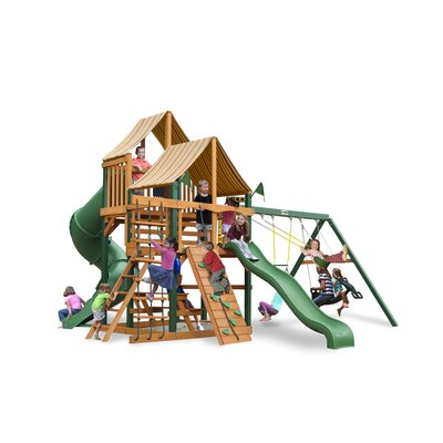 Gorilla Playsets Great Skye I Swing Set with Western Ginger Sunbrella Canopy