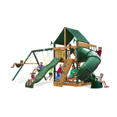 Mountaineer Swing Set with Canvas Green Sunbrella Canopy Product Photo