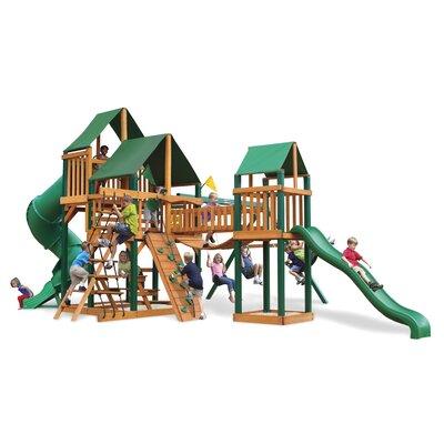 Treasure Trove Swing Set with Canvas Green Sunbrella Canopy by Gorilla Playsets