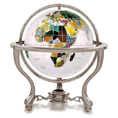 Gemstone Globe with Opalite Ocean and Commander 3-Leg Table Stand by Alexander Kalifano