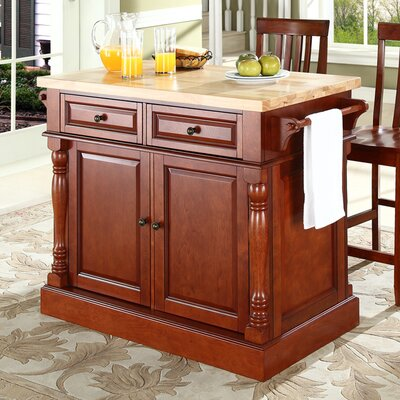 Oxford Kitchen Island Set with Butcher Block Top Product Photo
