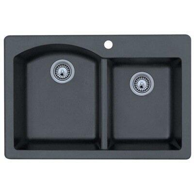 "Swanstone Classics 33"" x 22"" Double Bowl Kitchen Sink Product Photo"
