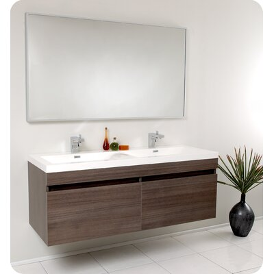 "Senza 57"" Double Largo Modern Bathroom Vanity Set with Mirror Product Photo"