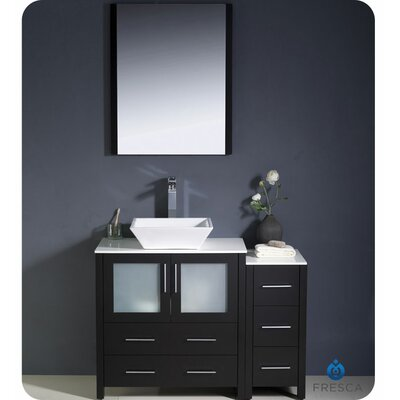 "Torino 42"" Single Modern Bathroom Vanity Set with Mirror Product Photo"