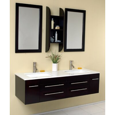 "Stella Bellezza 59"" Double Modern Bathroom Vanity Set with Mirror Product Photo"