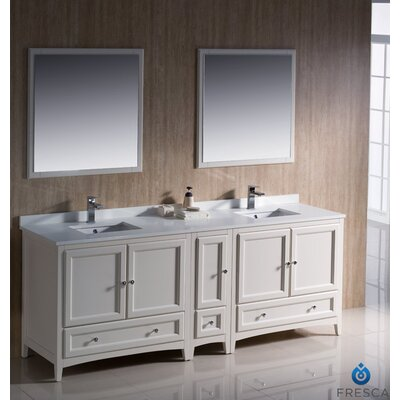 "Oxford 84"" Double Traditional Bathroom Vanity Set with Mirror Product Photo"