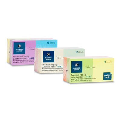 """Business Source Adhesive Note Pads, Pop-up, 3""""x3"""", 100 Sheets per Pad, 12 per Pack, Pastel"""
