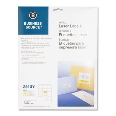 """Business Source Mailing Labels, Laser, 1""""x2-5/8"""", 750 per Pack, White"""