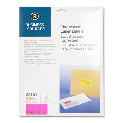 "Business Source Laser Labels, Fluorescent, 2'x4"", 250 per Pack, Neon Yellow"