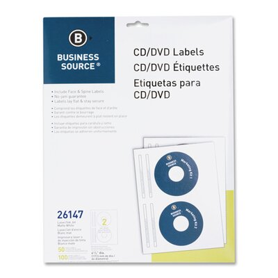 Business Source CD/DVD Labels, Laser/Inkjet, 100 per Pack, White