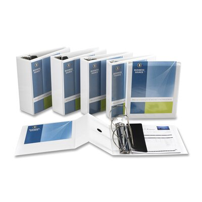 """Business Source D-Ring Binder, w/ Pockets, 5"""" Capacity, White"""