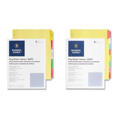 """Business Source Ring Binder Indexes,2"""" Tabs,5-Tabs,50/ST,Ast."""